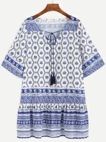Blue Floral Print Tassel Tie Neck Drop Waist Dress