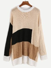Color Block Drop Shoulder Textured Sweater Dress