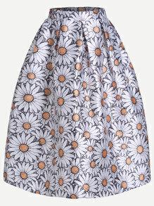 White Daisy Print Box Pleated Midi Skirt