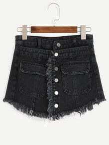 Black Button Front Frayed Denim Skort