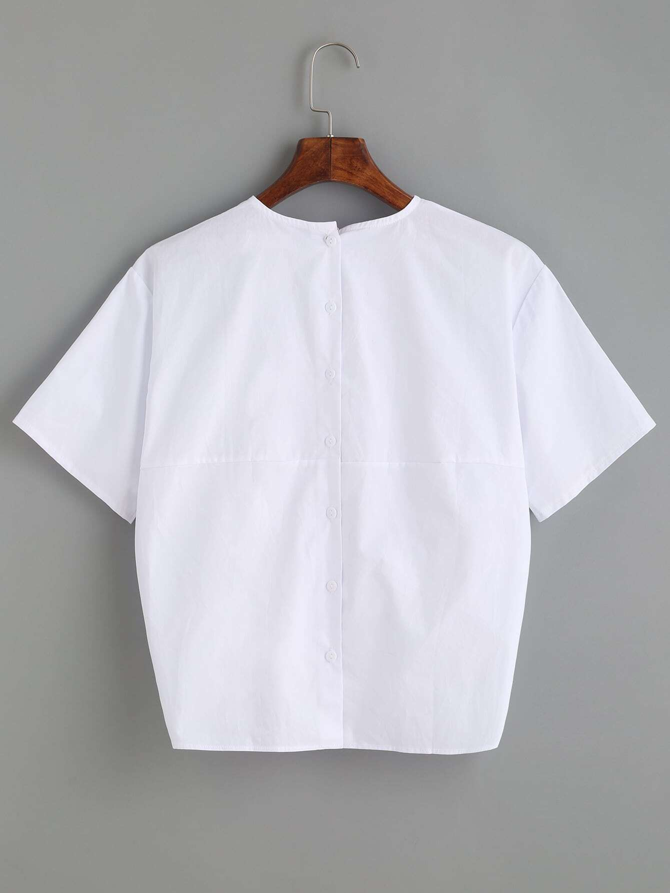 White Bow Front Blouse 44