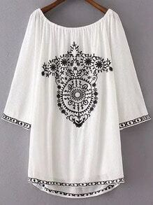 White Embroidery Boat Neck Dip Hem Dress