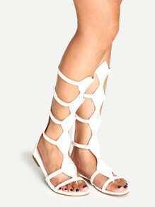 White Zip Back Caged Gladiator Sandals