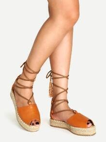 Brown  Lace Up Faux Leather Fringed Espadrille Sandals