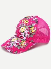 Floral Print Front Hot Pink Mesh Snapback Baseball Cap