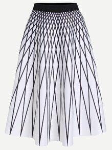 White Contrast Waistband Geo Print A Line Skirt