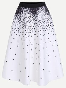 White Polka Dot A-Line Skirt With Zipper