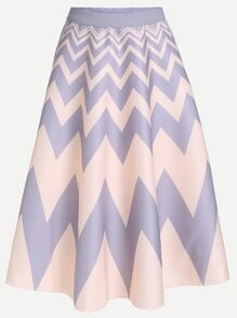 Color Block Chevron Print A-Line Skirt With Zipper