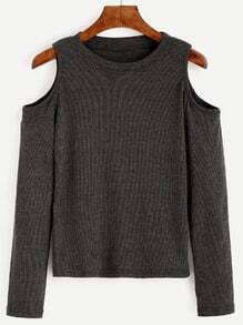 Dark Grey Open Shoulder Knit T-shirt