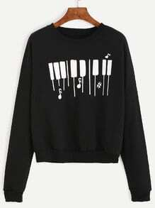 Black Piano Keyboard Print Drop Shoulder Sweatshirt