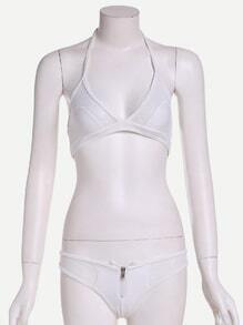 White Mesh Panel Zip Detail Bikini Set