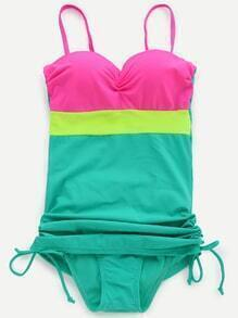 Green Color Block Ruched Drawstring Side Swimwear