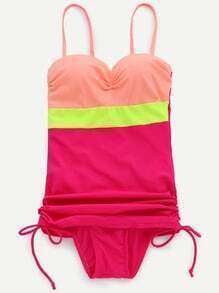 Hot Pink Color Block Ruched Drawstring Side Swimwear