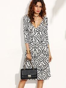 Deep V Neck Vintage Print Wrap Dress