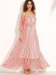Vertical Striped Cold Shoulder Chiffon Dress