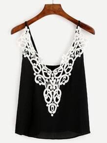 Black Lace Applique Cami Top