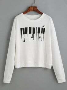 White Piano Keyboard Print Drop Shoulder Sweatshirt