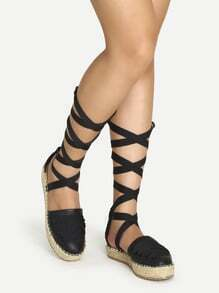 Black Lace Up Faux Leather Espadrille Sandals