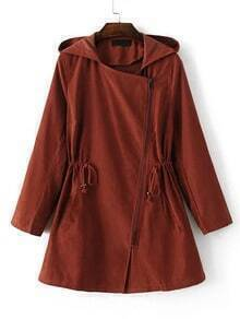 Brown Hooded Asymmetric Zipper Drawstring Outerwear