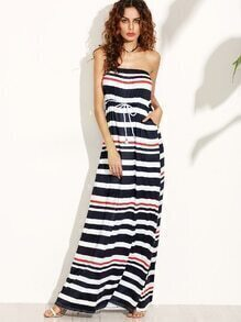 Contrast Striped Drawstring Waist Tube Dress