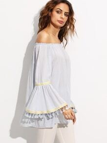 Off The Shoulder Embroidered Tape Detail Fringe Blouse