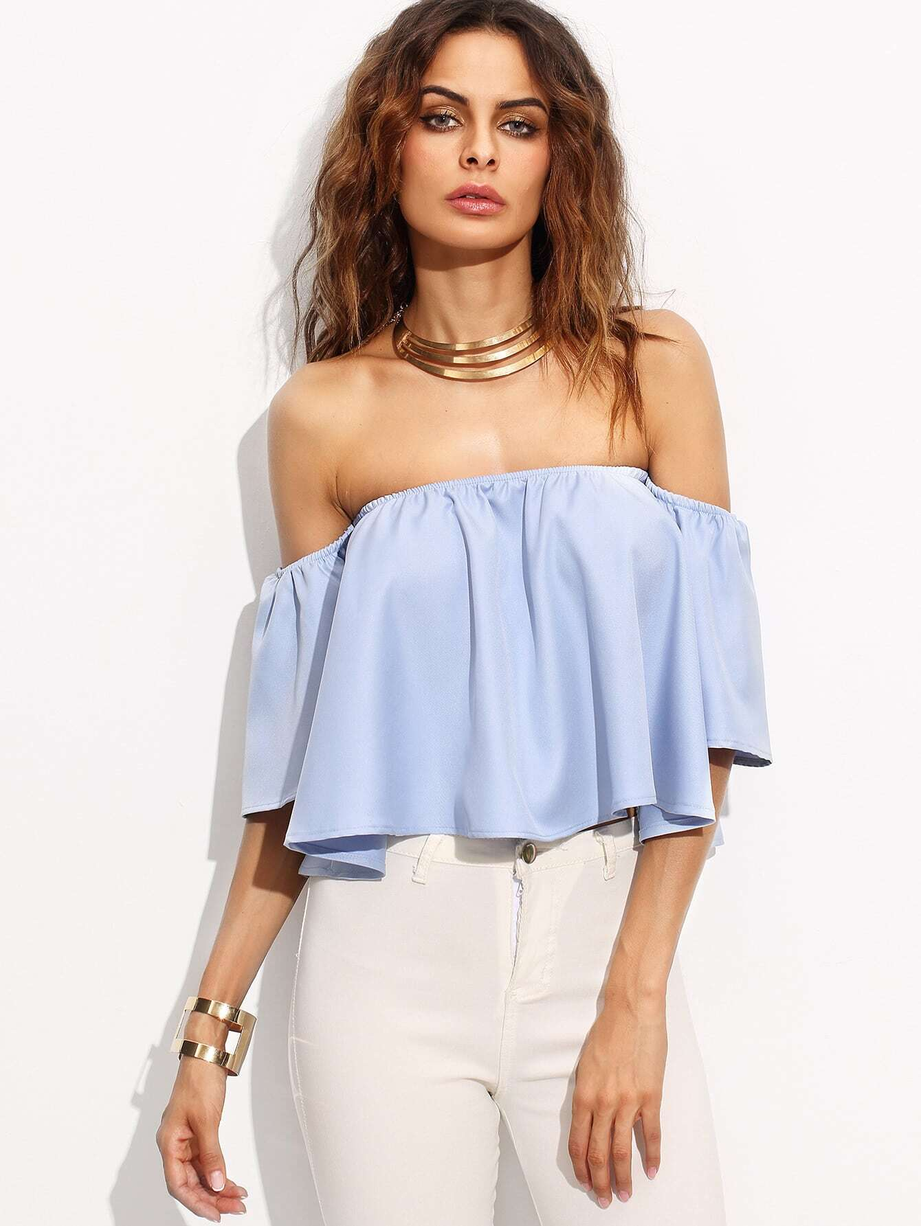 Blue Off The Shoulder Bell Sleeve Crop Topfor Women Romwe