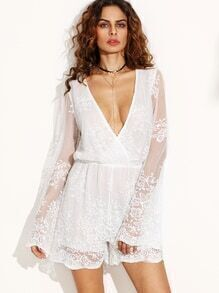 White Deep V Neck Flower Embroidered Mesh Romper