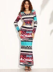 Multicolor Vintage Print Cut Out Back Maxi Dress