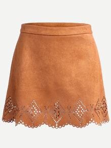 Khaki Scalloped Eyelet A-Line Suede Skirt