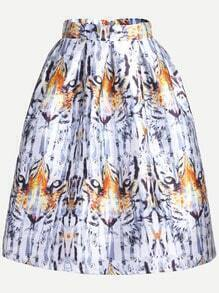 Multicolor Printed Flare Skirt With Zipper