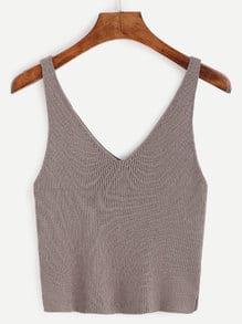 Deep V Neck Ribbed Knit Tank Top