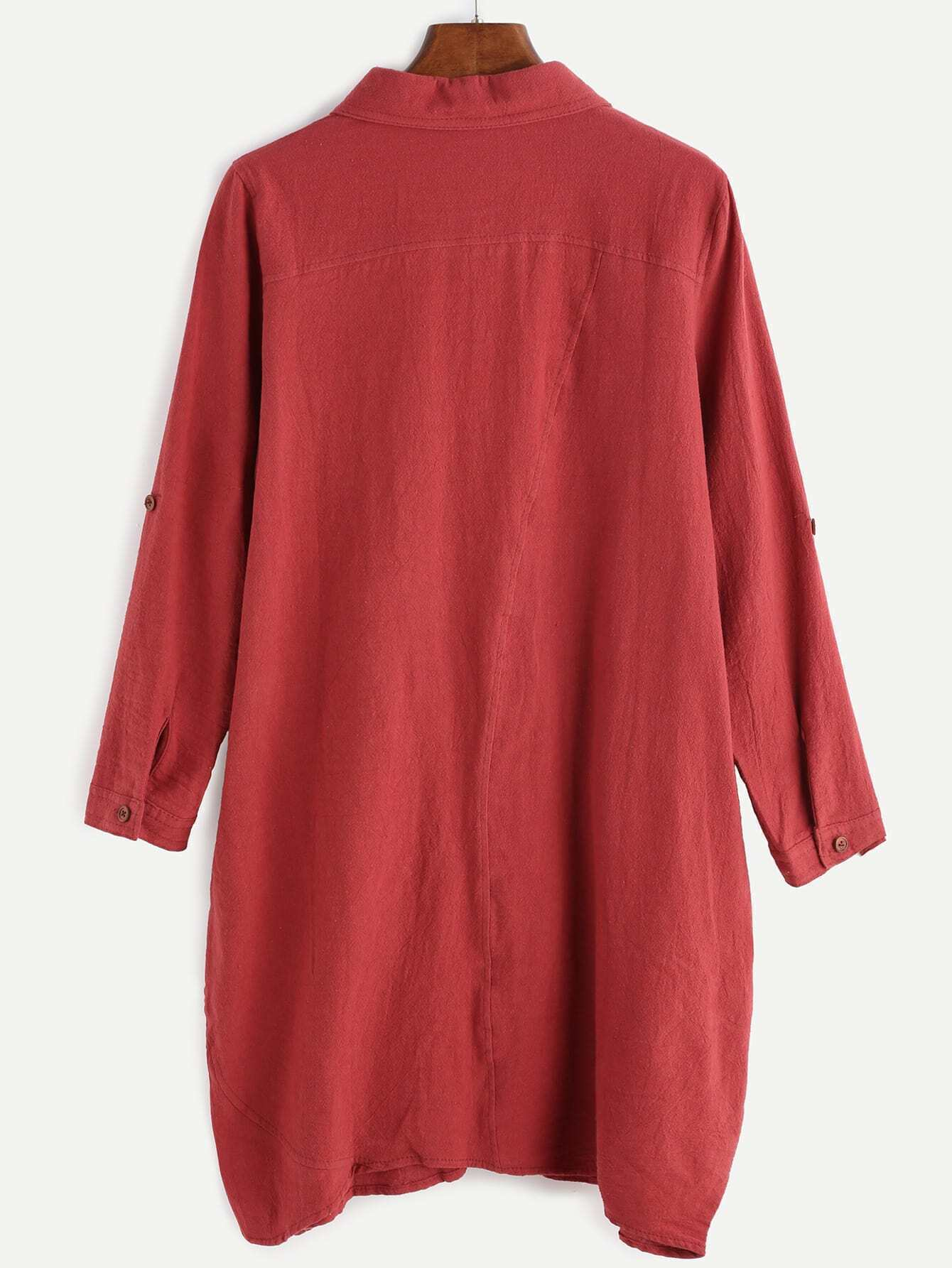 Robe chemise manche longue avec poches rouge french romwe for Interieur paupiere inferieure rouge