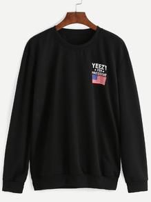 Black American Flag And Letter Print Sweatshirt