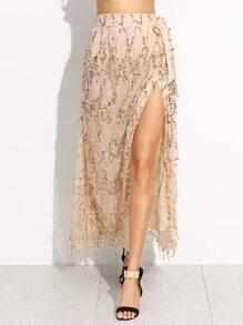 Gold Tie Bow Sequined High Split Skirt