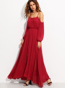 Burgundy Cold Shoulder Elastic Waist Chiffon Dress