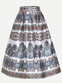 Vintage Print Box Pleated Skirt