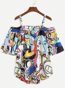 Cold Shoulder Abstract Print Top