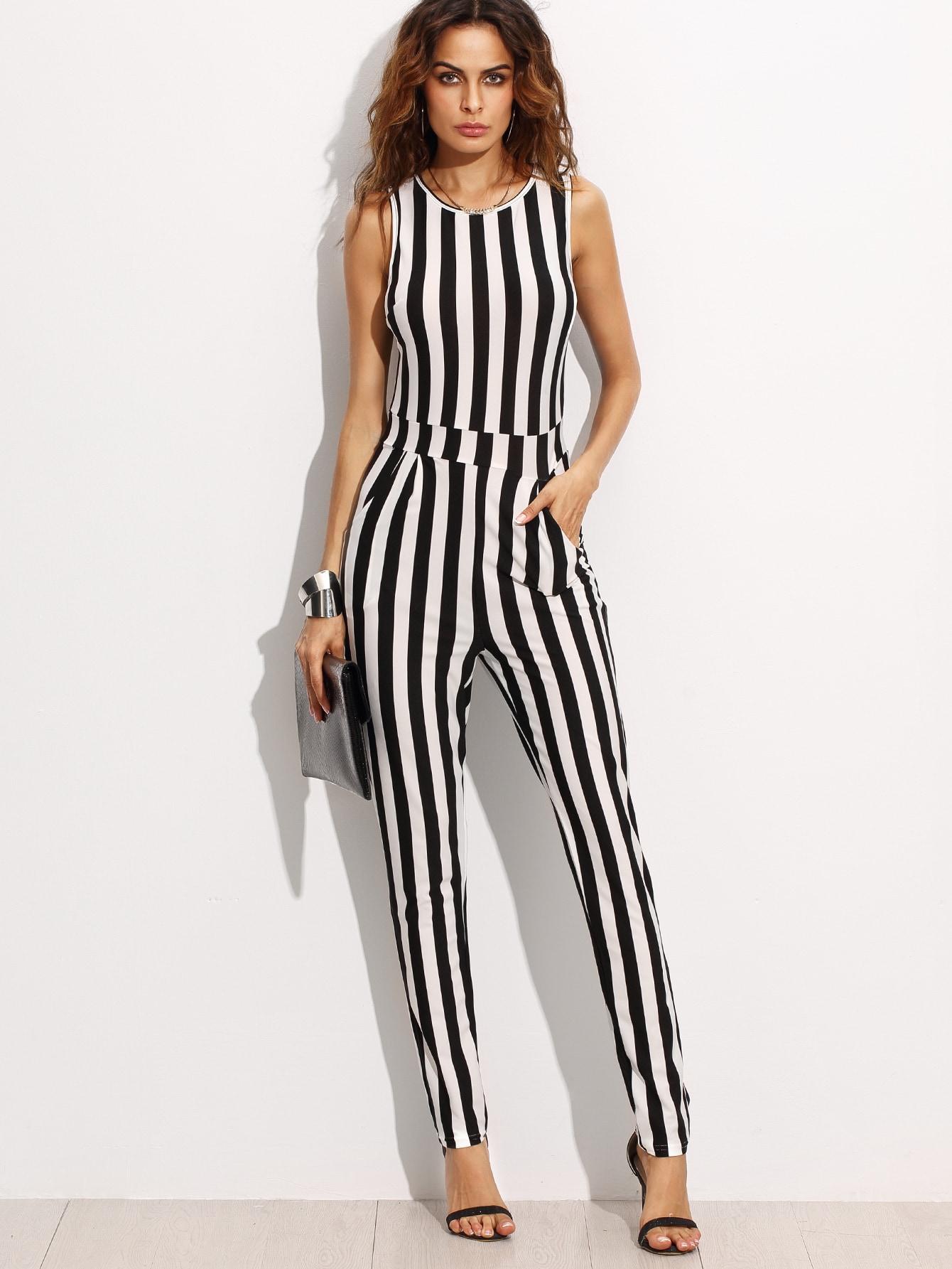 combi pantalons rayures verticales sans manche noir et blanc french romwe. Black Bedroom Furniture Sets. Home Design Ideas