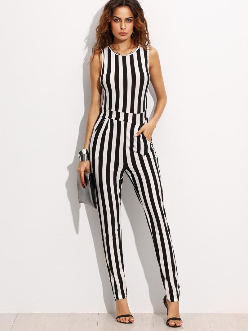dab3dcd03b517 Combi-pantalons à rayures verticales sans manche - noir et blanc | ROMWE