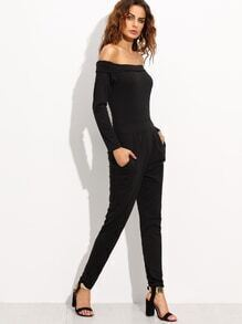 Black Off The Shoulder Peg Jumpsuit