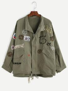 Army Green Rivet Patches Drawstring Outerwear