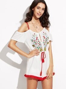 White Embroidery Cold Shoulder Drawstring Romper