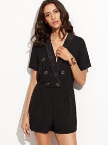 Black Deep Shawl Lapel Double Breasted Embellished Romper