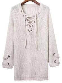 White Eyelet Lace Up V Neck Knit Dress