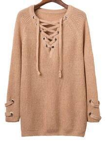 Khaki Eyelet Lace Up V Neck Knit Dress