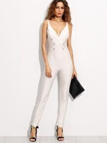 White Deep V Neck Double Breasted Jumpsuit