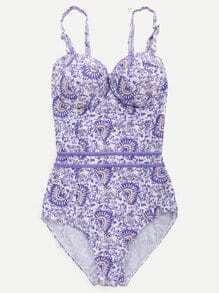Purple Printed Open Back Push Up Swimwear
