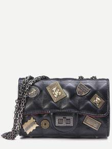 Black Vintage Charm Studded Quilted Flap Bag