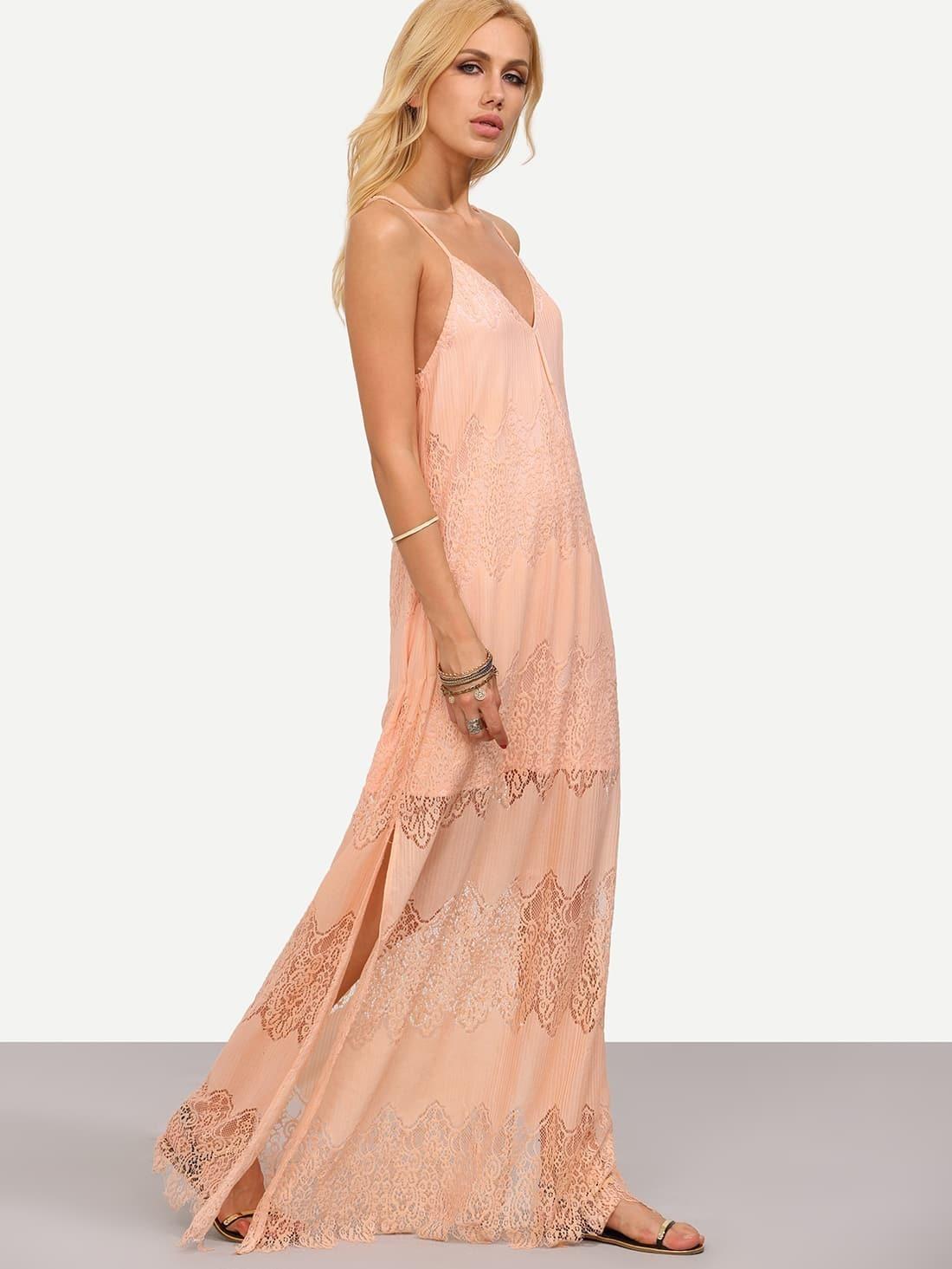 robe longue bretelle avec dentelle rose french romwe. Black Bedroom Furniture Sets. Home Design Ideas