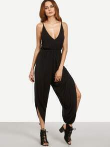 Black V Neck Crisscross Back Sleeveless Split Jumpsuit